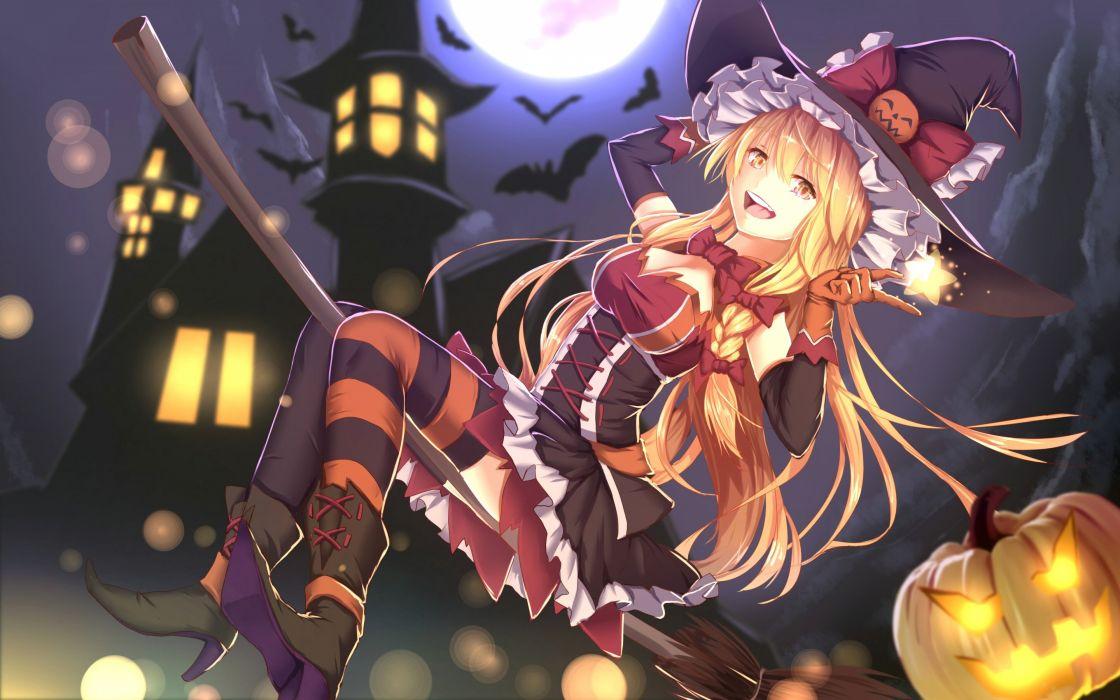 animal bakanoe bat blonde hair bow braids breasts clouds dress halloween hat long hair moon night pumpkin sky touhou witch witch hat yellow eyes wallpaper