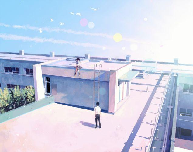 animal bird building clouds hinata (lipcream) male original rooftop seifuku sky tree wallpaper