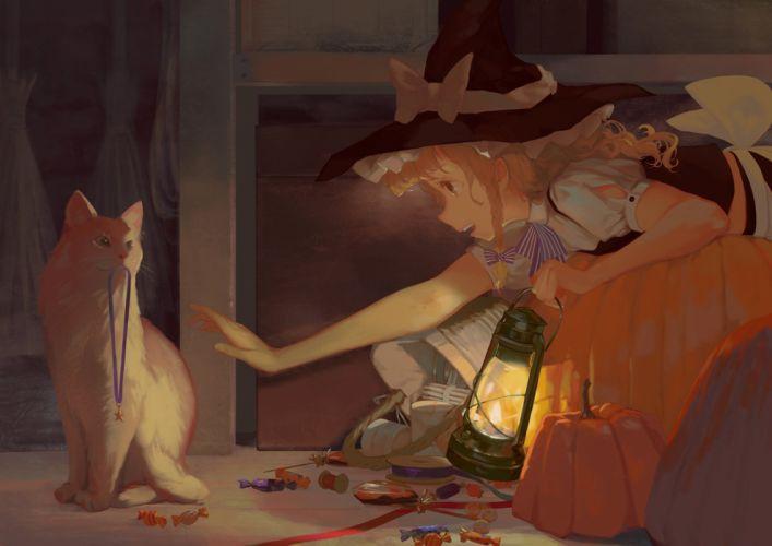 animal blonde hair braids brown eyes candy cat halloween hat jq kirisame marisa long hair necklace pumpkin touhou witch witch hat wallpaper