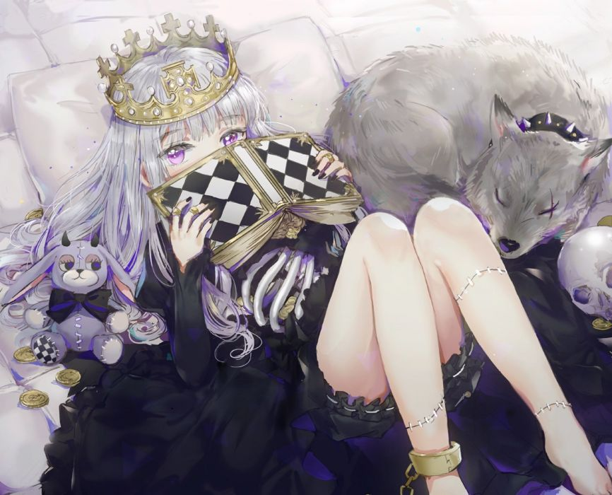 animal book bunny chain crown dangmill dress gray hair halloween long hair original purple eyes shackles skull waifu2x wolf wallpaper