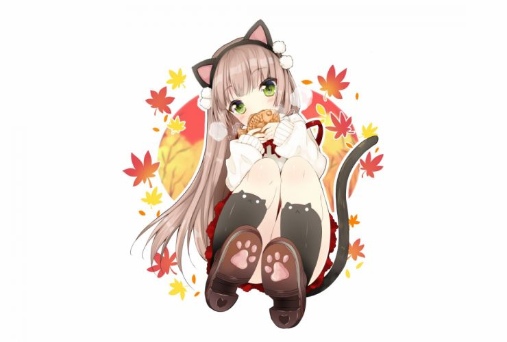 animal ears blush bow brown hair catgirl duji amo food green eyes headband kneehighs leaves long hair original ribbons tail taiyaki white wallpaper