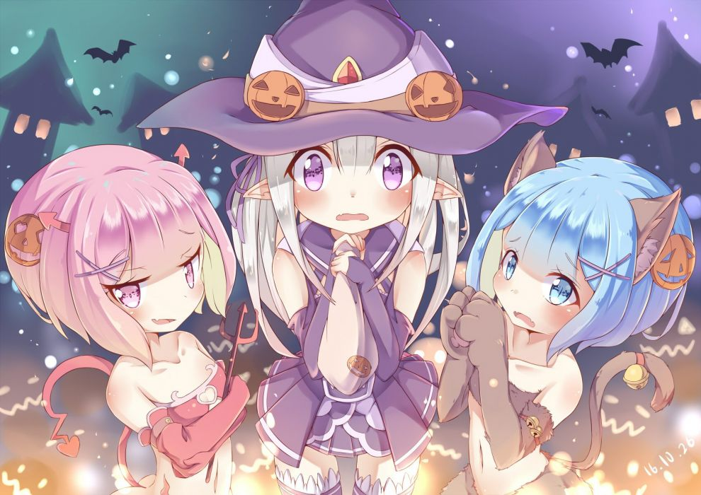 aqua eyes aqua hair ass bell bikini blush catgirl cosplay demon emilia gloves hat horns loli navel pink eyes pumpkin skirt swimsuit tail witch wallpaper