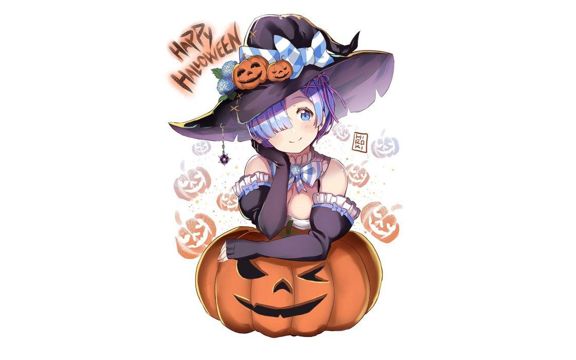 aqua eyes aqua hair bow breasts cleavage collar elbow gloves gloves halloween hat pumpkin rem (re-zero) ribbons short hair white witch hat wallpaper