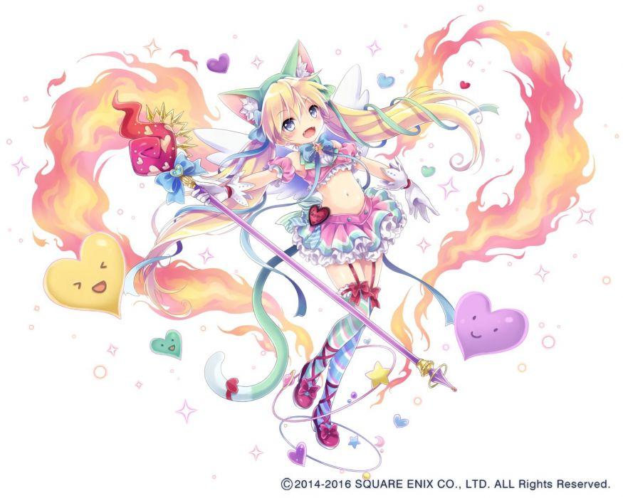 aqua eyes blush bow catgirl fang fire gloves hat heart loli long hair mage magic navel ribbons skirt staff stockings tail waifu2x watermark wings wallpaper
