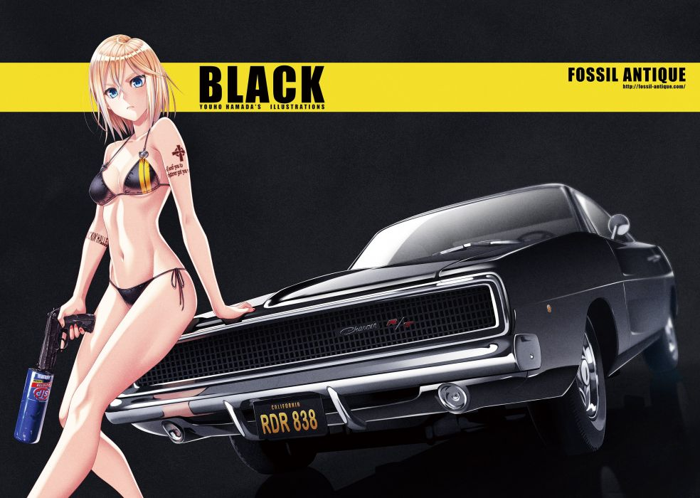 aqua eyes bikini blonde hair breasts car gun hamada youho navel original short hair swimsuit tattoo weapon wallpaper