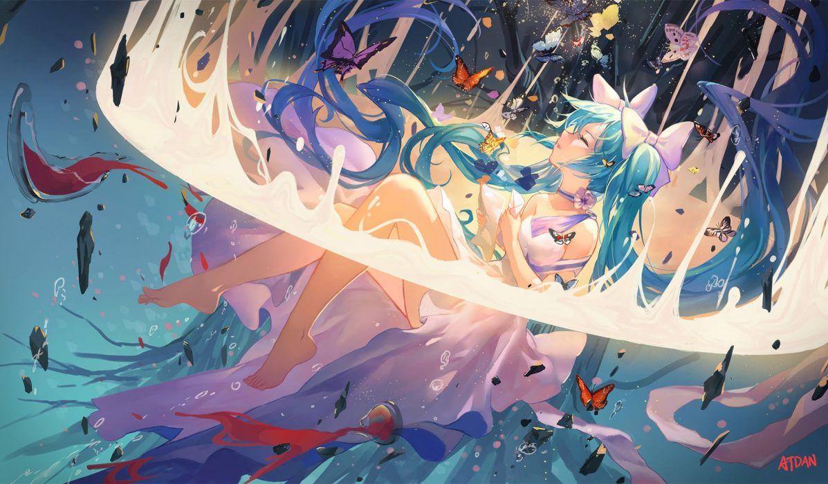aqua hair atdan barefoot bow butterfly choker dress hatsune miku long hair signed twintails vocaloid water wallpaper