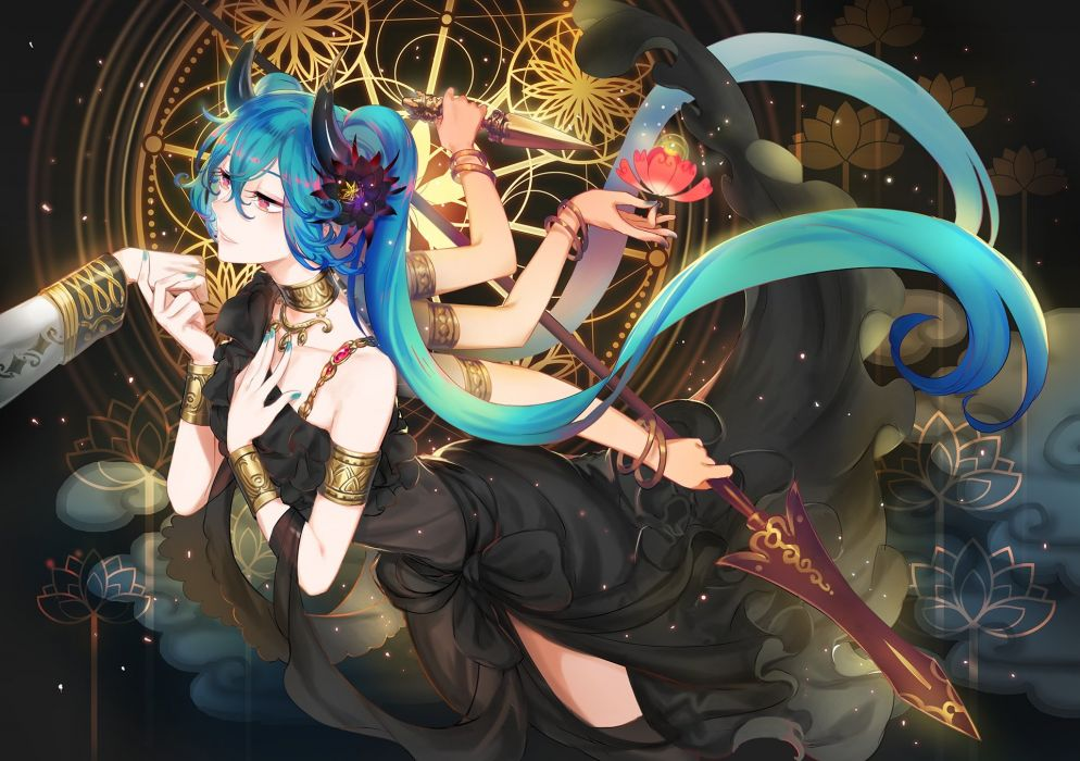 aqua hair choker dress flowers hatsune miku horns knife long hair necklace pink eyes spear twintails verus vocaloid weapon wristwear wallpaper