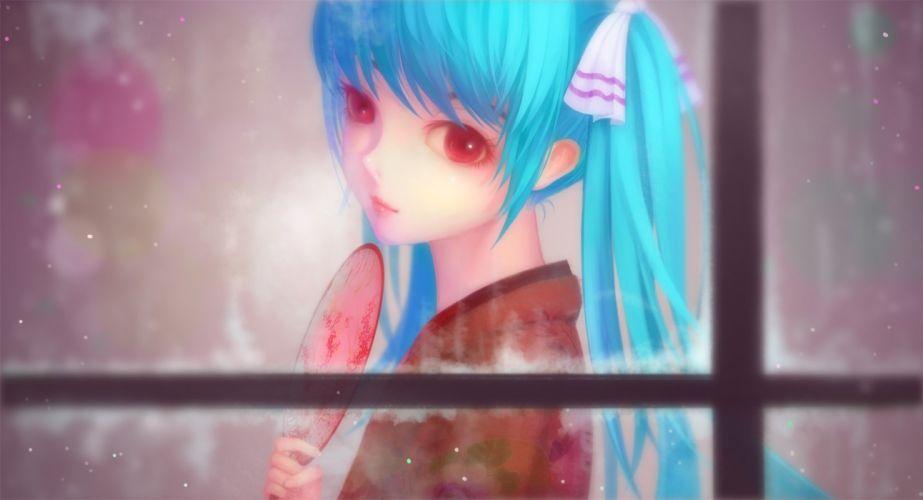 aqua hair fan hatsune miku japanese clothes kimono long hair red eyes snow tam1205 twintails vocaloid wallpaper