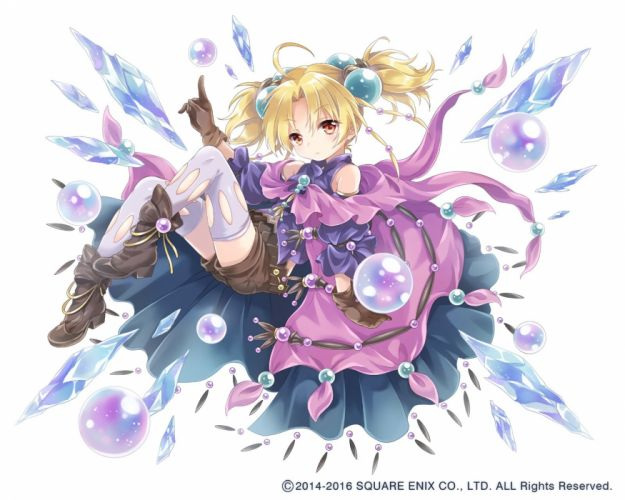 ball blonde hair boots bubbles cape gloves kona (canaria) loli mage red eyes shorts thighhighs twintails waifu2x watermark white wallpaper