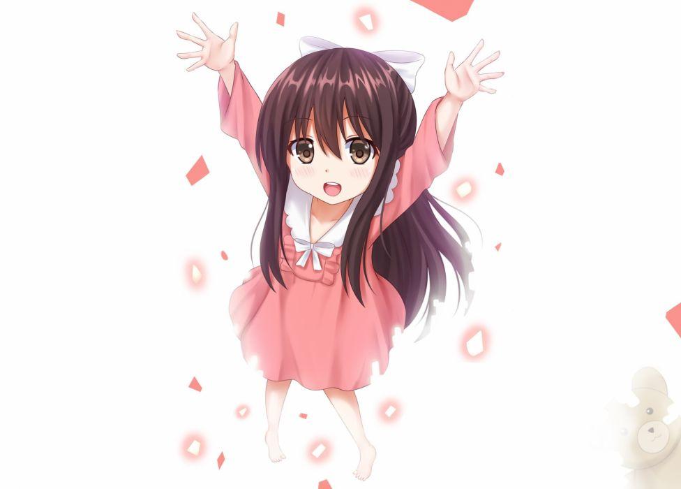 barefoot blush bow brown eyes brown hair dress kazenokaze loli long hair rin (shelter) shelter teddy bear white wallpaper