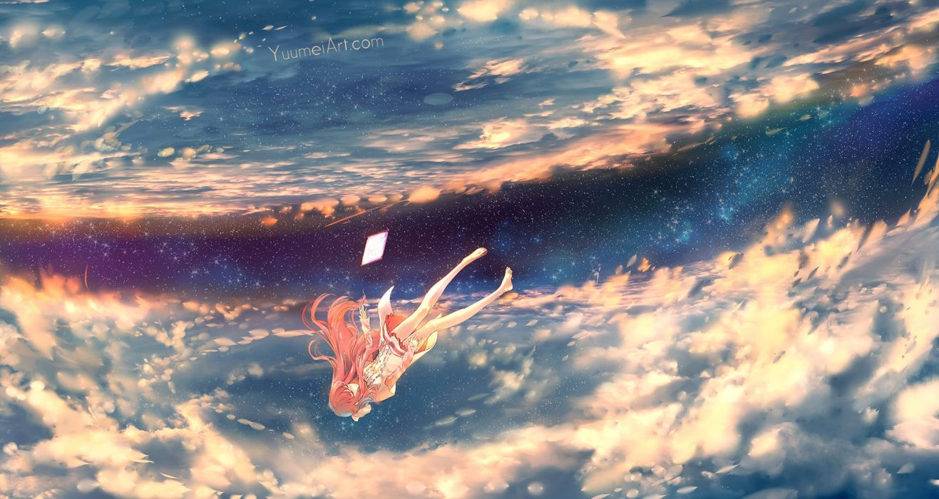 barefoot clouds dress long hair pink hair rin (shelter) shelter sky stars wenqing yan (yuumei art) wallpaper