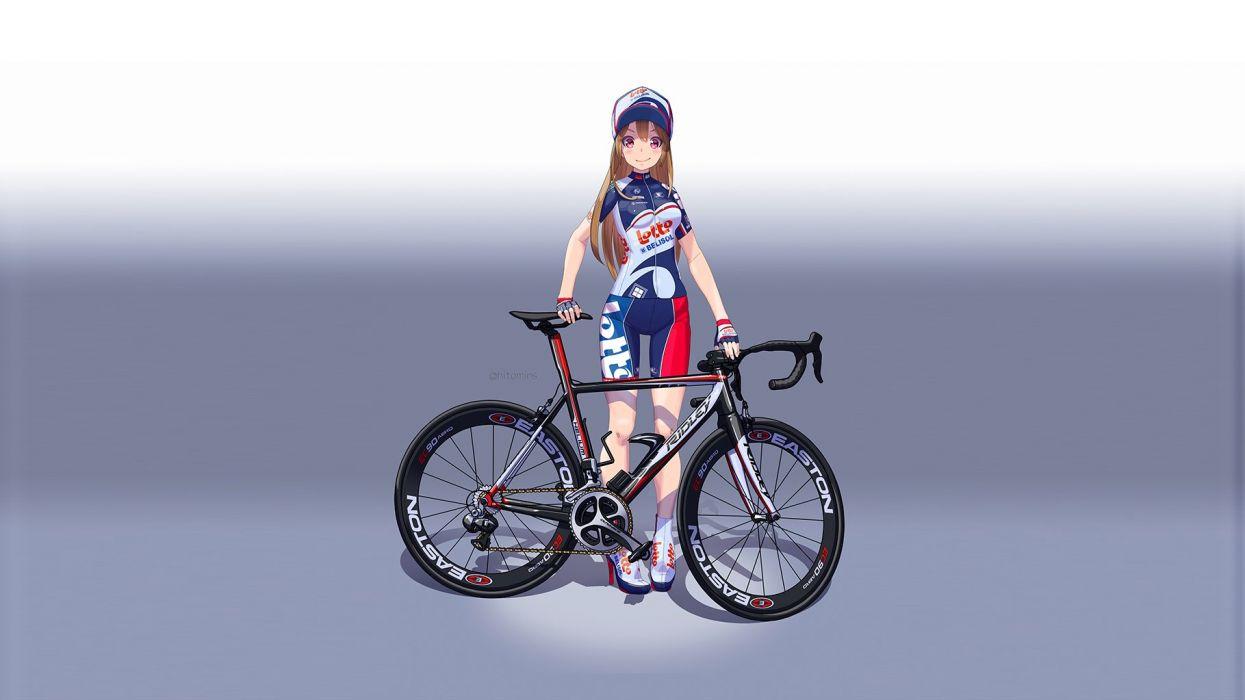bicycle bike shorts blonde hair blush gradient hat hitomi kazuya long hair original red eyes shorts skintight wallpaper