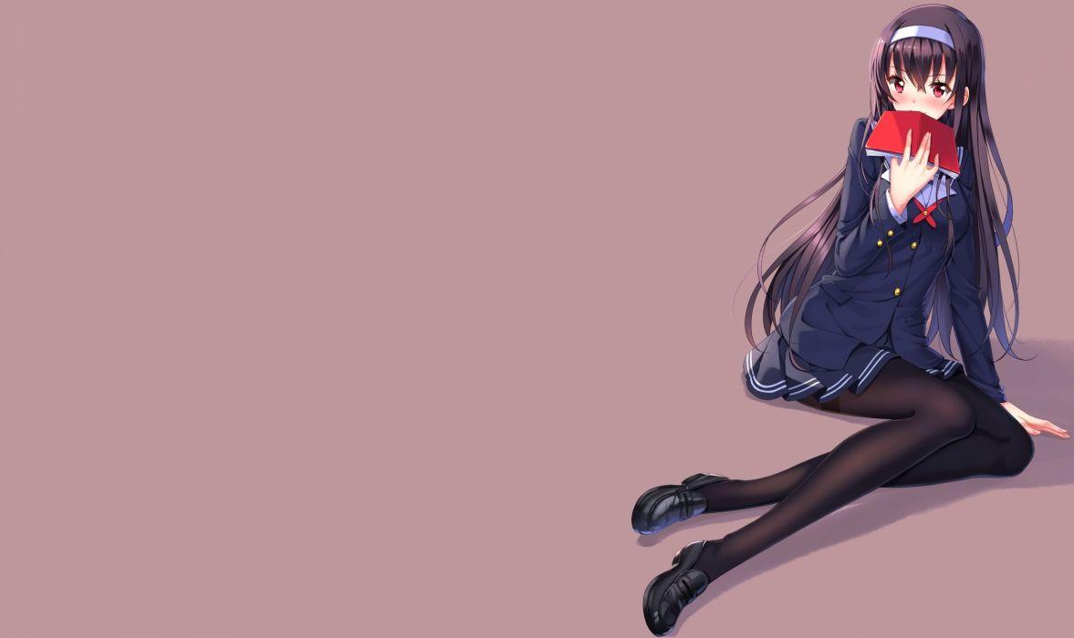 black hair kasumigaoka utaha long hair red eyes saenai heroine no sodatekata swordsouls wallpaper