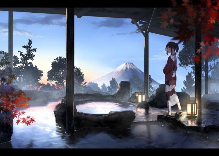 black hair clouds japanese clothes kimono onsen original ouchikaeru ponytail short hair sunset tree water wallpaper