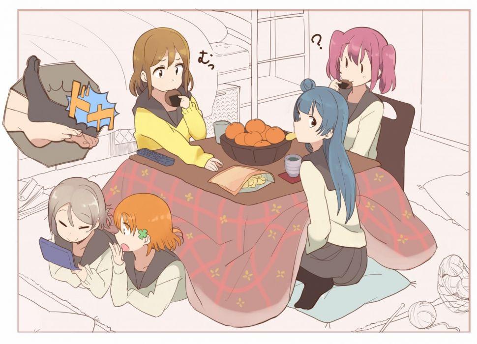 blue hair brown hair drink food fruit game console gray hair group kasa list kotatsu orange hair pink hair seifuku short hair watanabe you wallpaper