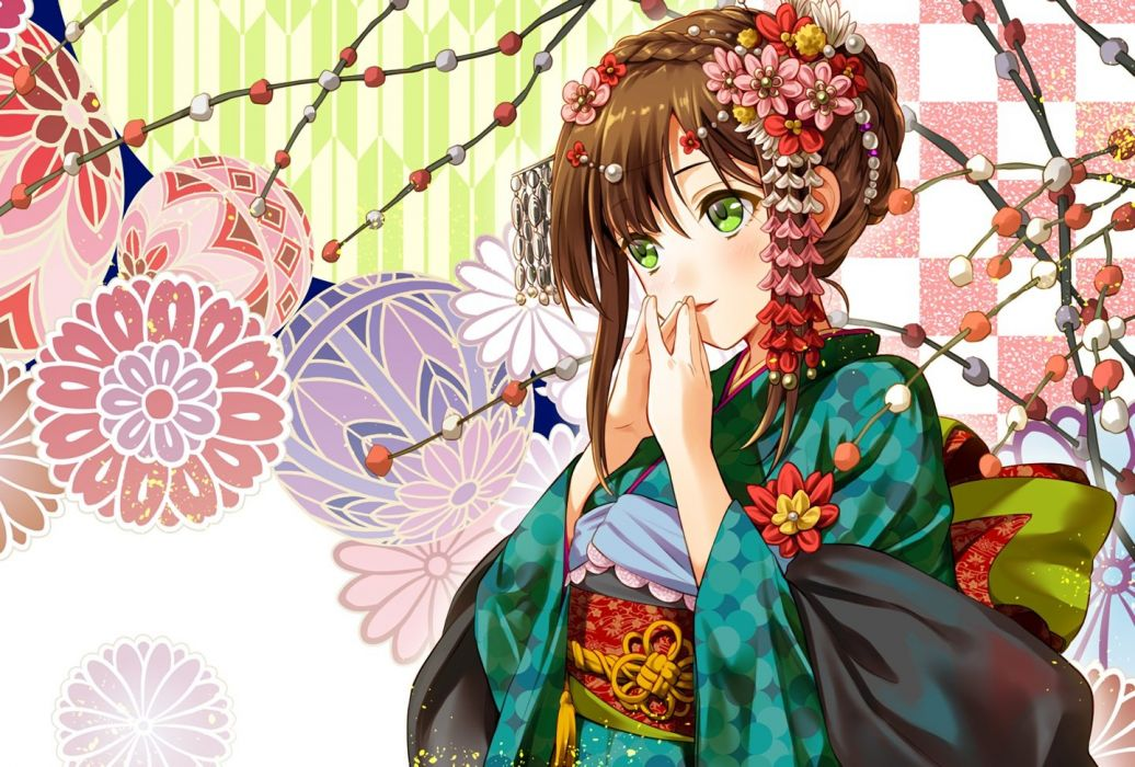 blush braids brown hair flowers geroro green eyes headdress japanese clothes kimono original waifu2x wallpaper