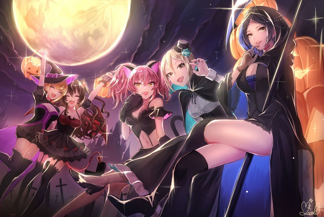 bow breasts catgirl cleavage dress gloves group halloween hat horns ilo long hair moon night pumpkin signed stockings tail twintails wings witch wallpaper