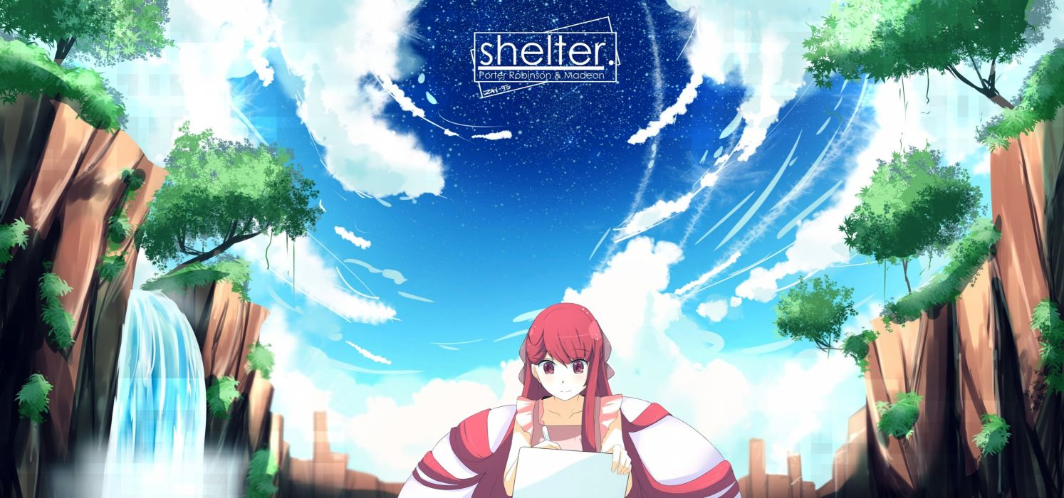 clouds computer logo long hair nas (z666ful) red eyes red hair rin (shelter) shelter sky stars tree water waterfall wallpaper