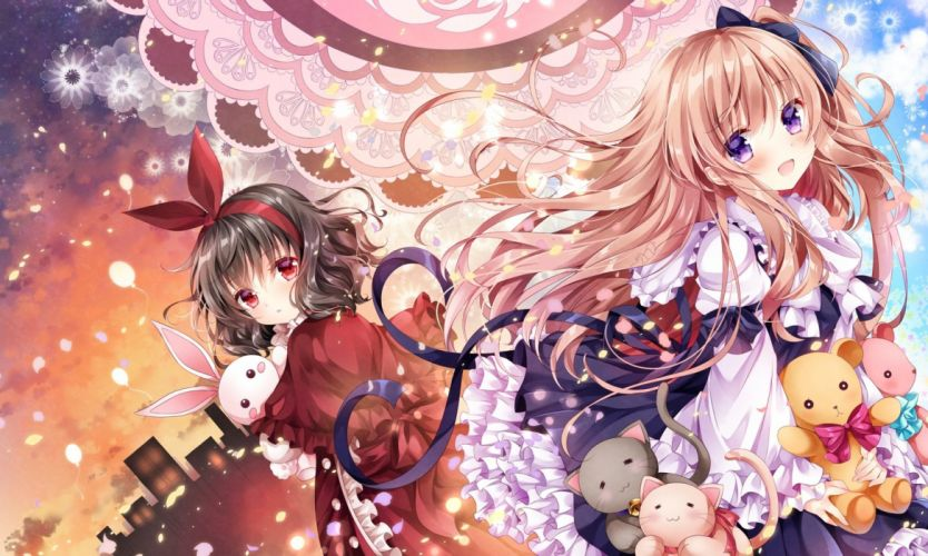 girls animal blush building bunny cape cat city clouds dress headband long hair original petals ponytail red eyes ribbons sky sunset waifu2x wallpaper