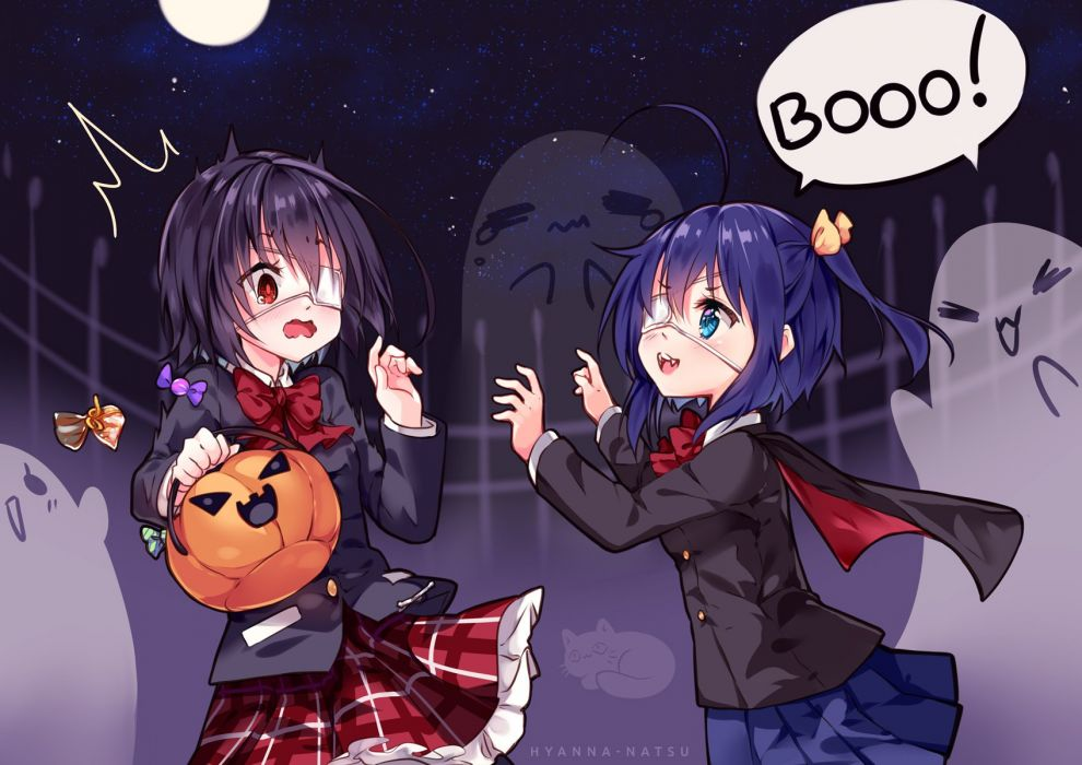 girls another blue hair blush bow candy cape cosplay eyepatch fang moon night ponytail pumpkin red eyes seifuku sky stars tears vampire watermark wallpaper