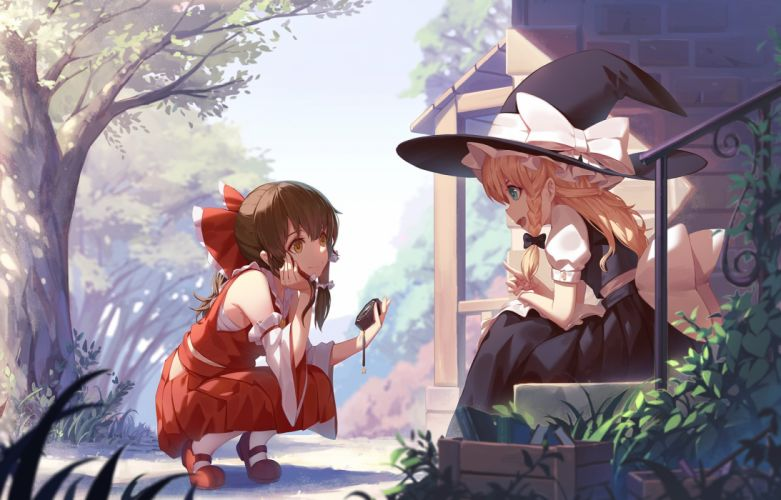 girls aqua eyes blonde hair book bow braids brown hair grass hakurei reimu hat leaves long hair miko nian orange eyes touhou tree witch hat wallpaper