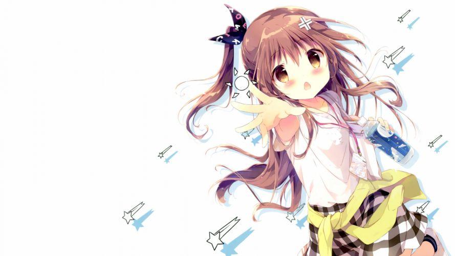 brown hair drink loli long hair original photoshop ponytail scan shiratama skirt stars white yellow eyes wallpaper