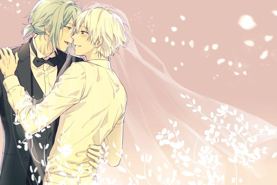 male aqua eyes blush bow green hair headdress hug idolish7 male pia pink ponytail purple eyes short hair shounen ai suit tie waifu2x wedding wallpaper