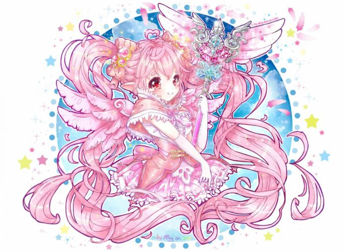 aliasing aura kingdom bow feathers gloves long hair mingarts pink hair pointed ears red eyes stars wand wings wallpaper