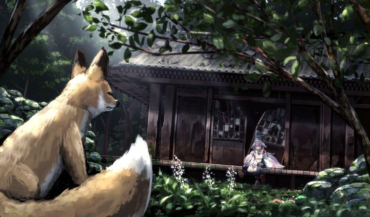 animal building forest fox original ryosios tree wallpaper