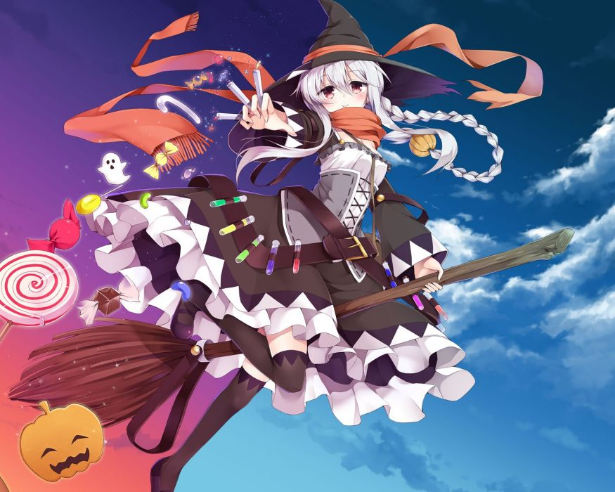 blush braids candy clouds dress east01 06 halloween hat long hair magic original ponytail pumpkin red eyes scarf sky white hair witch witch hat wallpaper