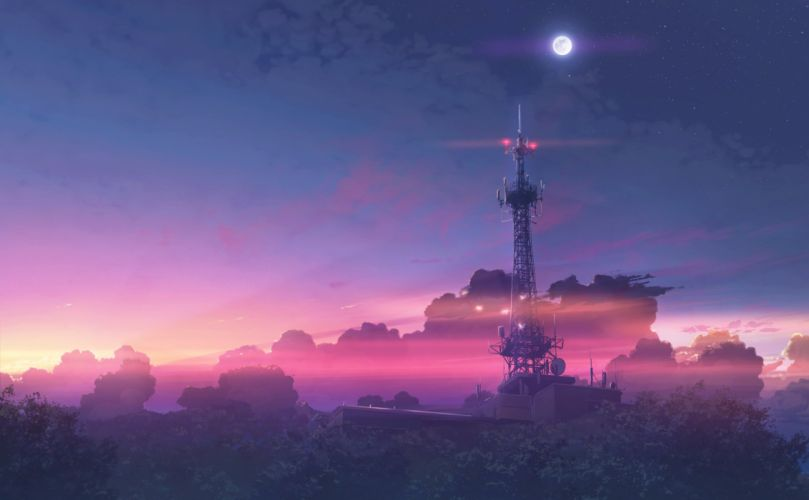 building clouds forest hatsuame nobody original scenic sky sunset tree wallpaper