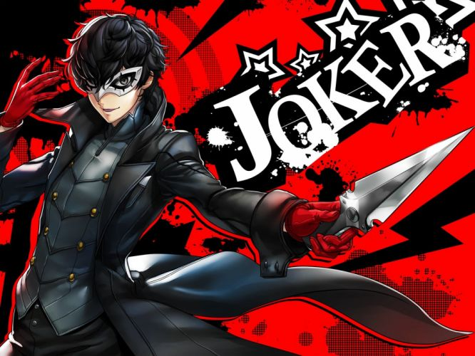 male black hair gloves gray eyes knife kurusu akira male mask persona persona 5 short hair suit tagme (artist) weapon wallpaper