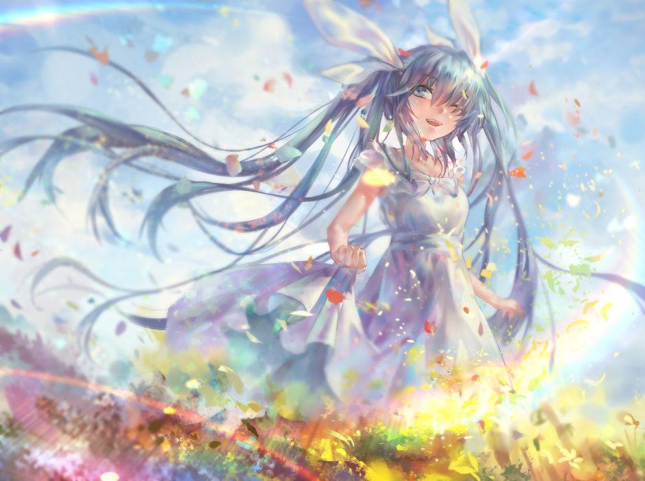 aqua eyes aqua hair avamone clouds dress flowers hatsune miku long hair petals twintails vocaloid wallpaper