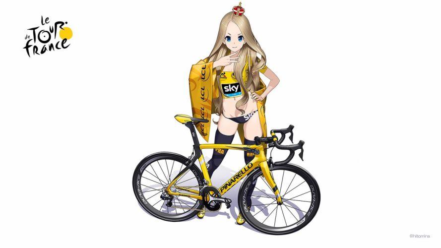 aqua eyes bicycle blonde hair breasts cleavage crown hitomi kazuya logo long hair navel skintight thighhighs white wallpaper