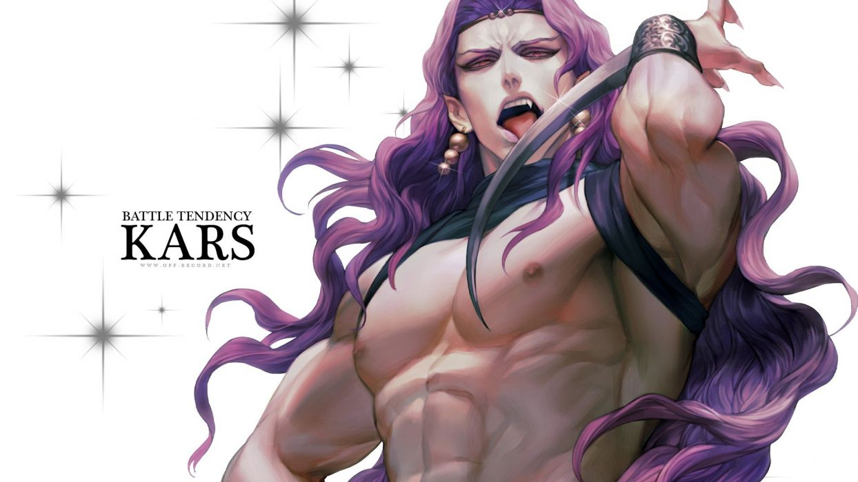 male fang headdress jojo no kimyou na bouken kars (jojo) long hair male pink eyes pointed ears purple hair rae (off-record) weapon wristwear wallpaper