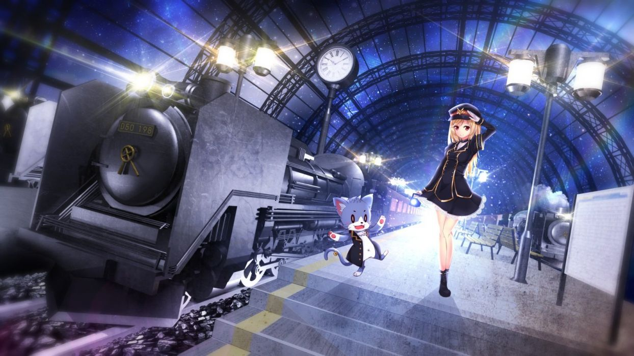 aliasing original train yoshimo (yoshiki qaws) wallpaper
