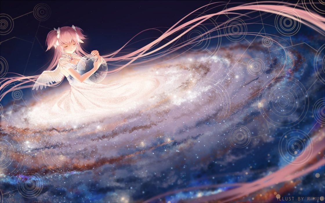 ball bow dress earth kaname madoka long hair mahou shoujo madoka magica pink hair planet rimuu space stars twintails ultimate madoka wings wallpaper