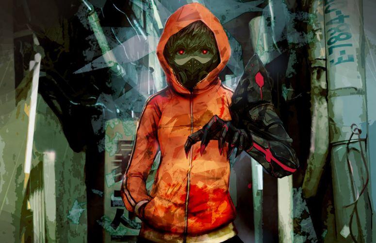 hoodie mask original red eyes short hair techgirl waifu2x wyx2 wallpaper