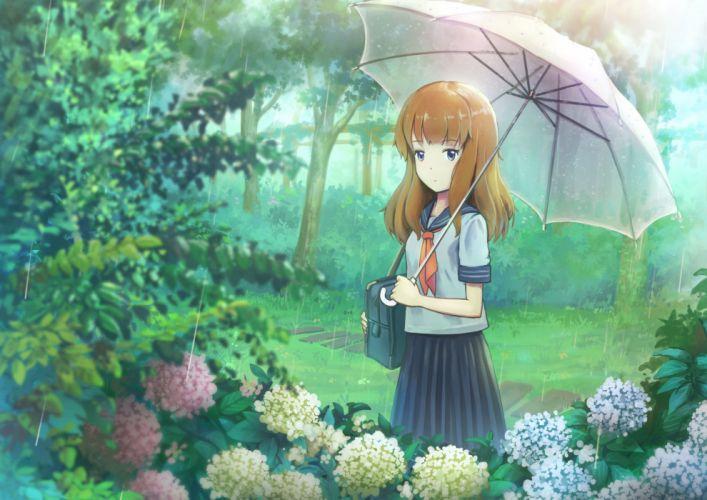 3gatsu (mitsuki) brown hair long hair rain seifuku umbrella water wallpaper