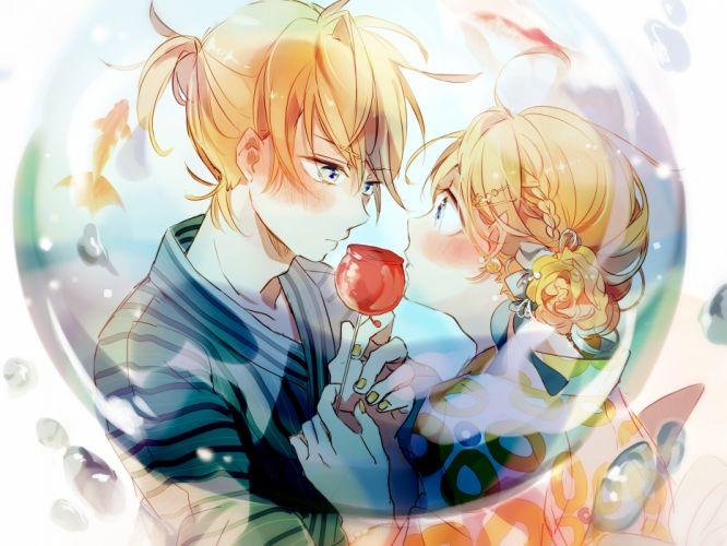 animal apple blonde hair blue eyes blush braids candy fish food fruit headdress makozi27 male ponytail short hair vocaloid water wristwear yukata wallpaper