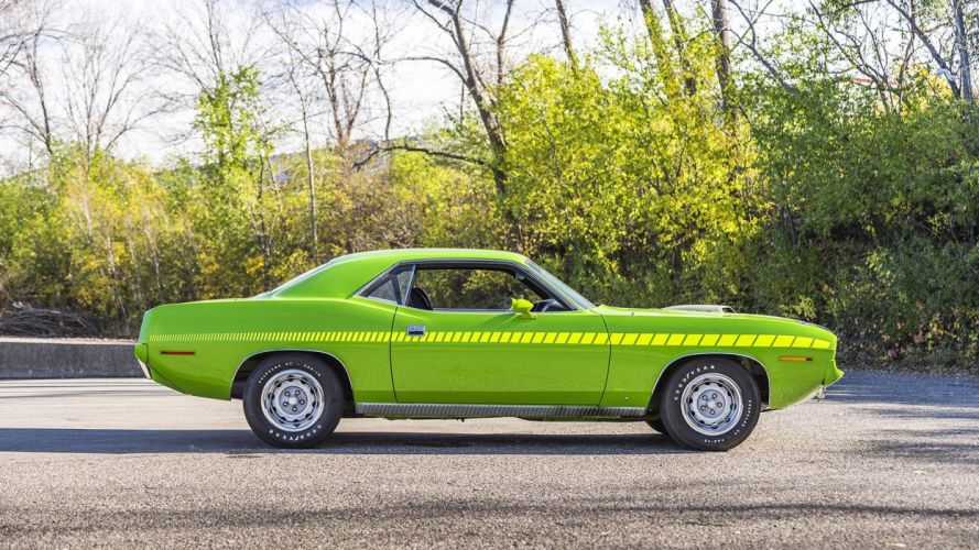 1970 PLYMOUTH CUDA 440 Six Pack cars green wallpaper