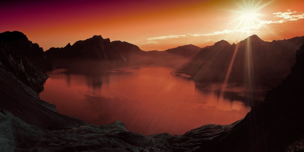 Sunset Lake Mountain Scenery Landscape Nature wallpaper