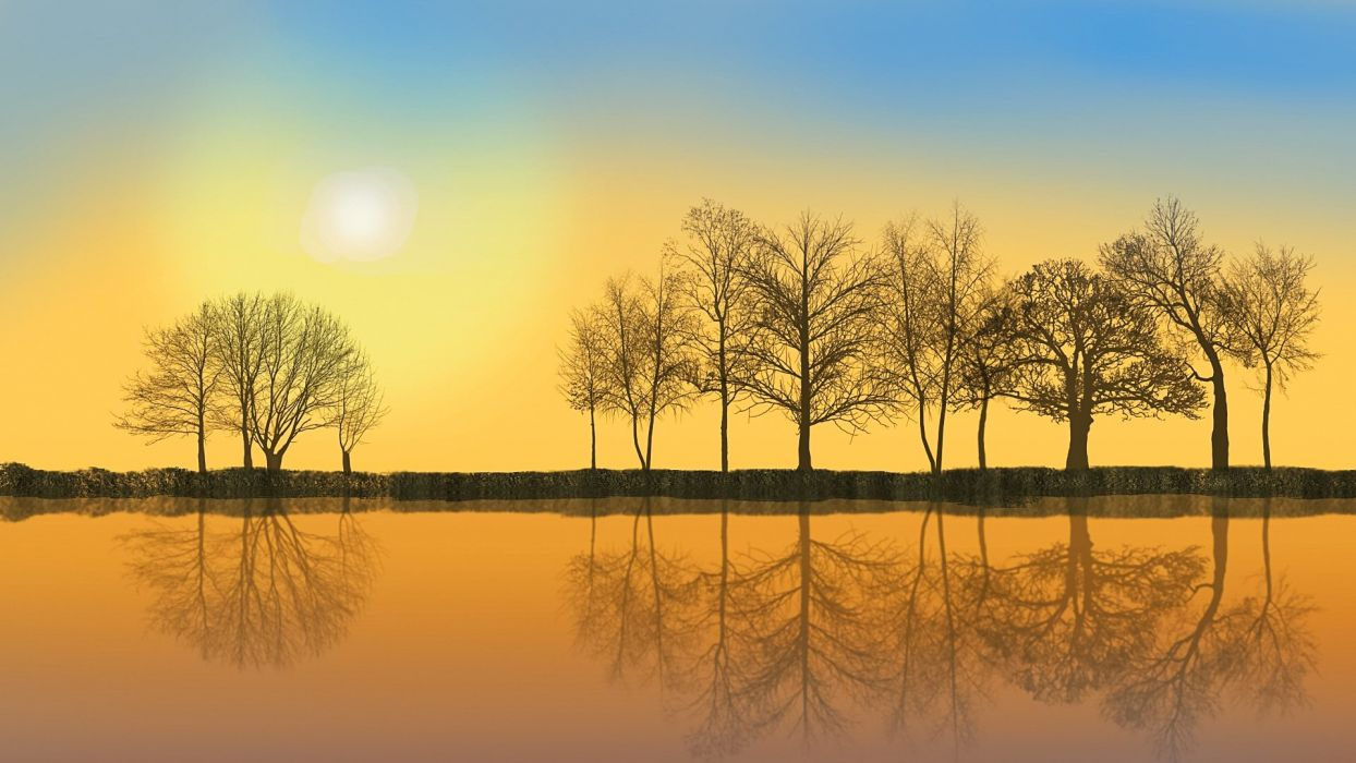 Mood Nature November Mood Trees river reflection wallpaper