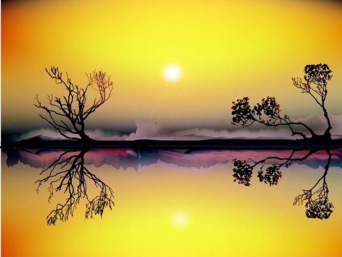 Landscape Sunset River Nature Sun reflection wallpaper