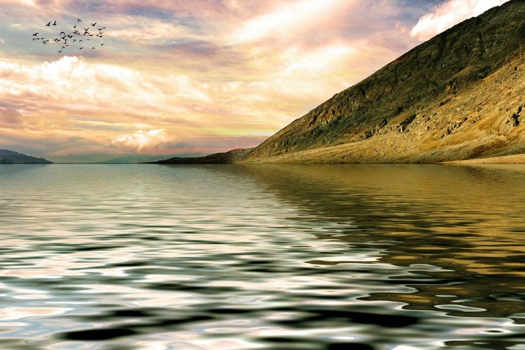 Mountain Lake Landscape Nature Abendstimmung Sky wallpaper