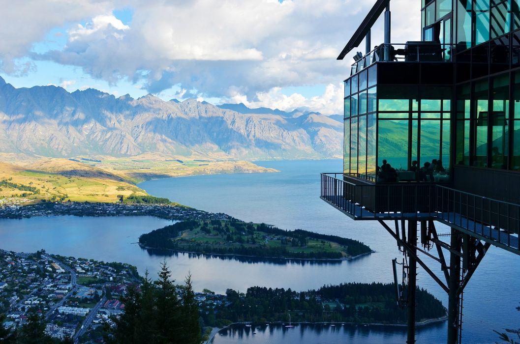New Zealand Lake Mountain Landscape Nature View wallpaper