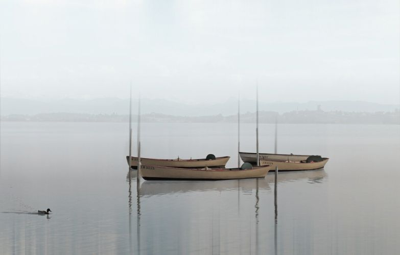 Boat Lake Haze Fog Water Nature wallpaper