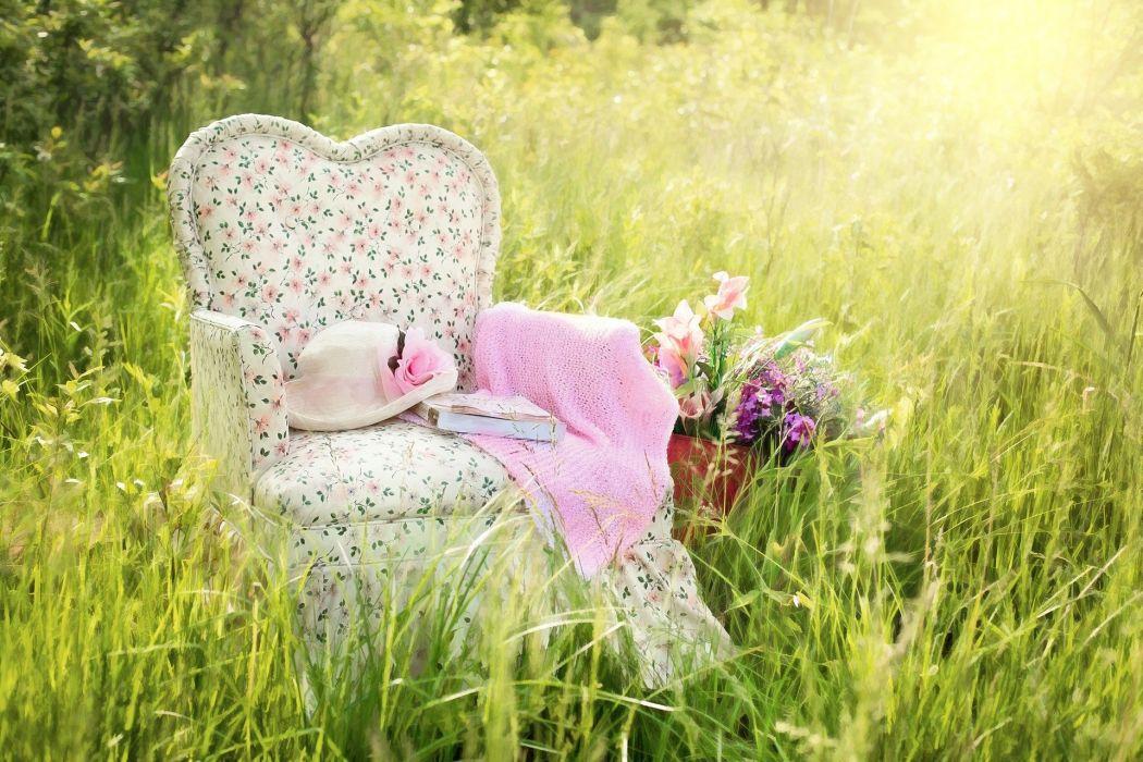 Chair In Field Floral Chair Pink Summer Nature book mood grass wallpaper
