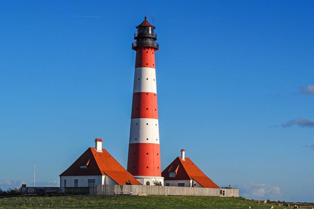Lighthouse Westerhever Wadden Sea North Sea wallpaper
