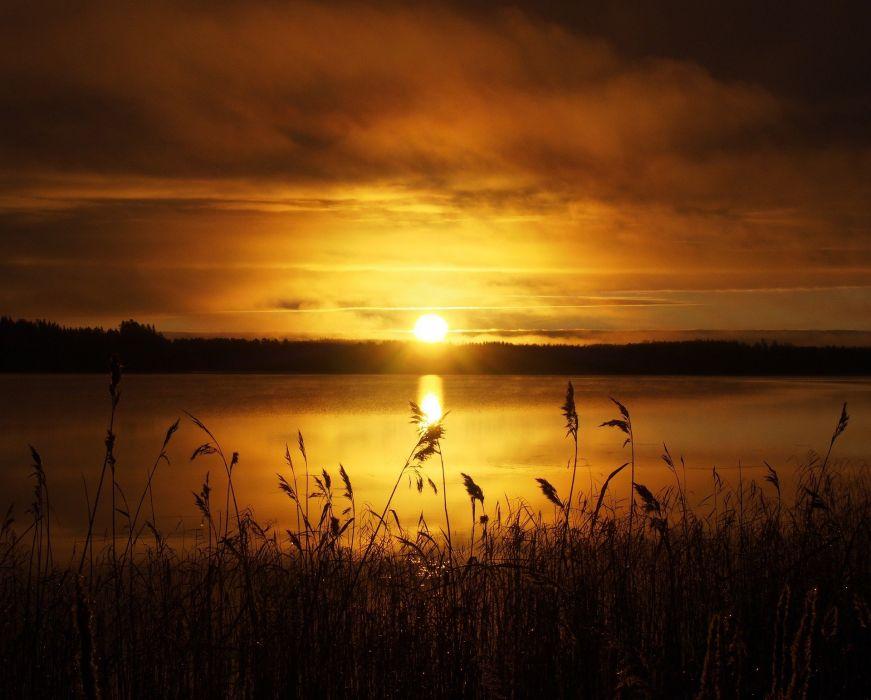 Sun Rushes Morning Sky Water Nature Lake Scenic wallpaper